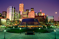 Canada, Ontario, Toronto. Roy Thomson Hall and the financial district at dusk