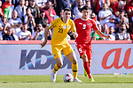Tom Rogic of Australia (L) competes for the ball with Tamer Seyam of Palestine during the AFC Asian Cup UAE 2019 Group B match between Palestine (PLE) and Australia (AUS) at Rashid Stadium on 11 January 2019 in Dubai, United Arab Emirates. Photo by Marcio Rodrigo Machado / Power Sport Images