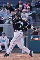 Rico Noel of the Coastal Carolina University Chanticleers hitting in a game against NC State University at the Baseball at the Beach Tournament held at BB&T Coastal Field in Myrtle Beach, SC on February 28, 2010.