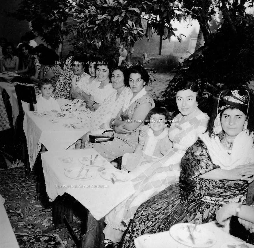 Iran 1952 At a wedding in Ourmieh, women of the Ghassemlou family.Right, Manigeh, sister of Abdul Rahman Ghassemlou<br /> Iran 1952 Un mariage a Ourmieh, les femmes de la famille Ghassemlou, a droite, Manigeh, soeur de Abdul Rahman Ghassemlou