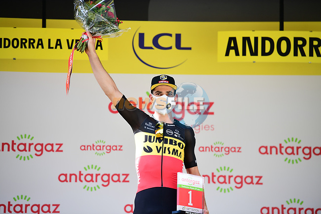 Belgian Champion Wout Van Aert (BEL) Jumbo-Visma wins the day's combativity prize at the end of Stage 15 of the 2021 Tour de France, running 191.3km from Ceret to Andorre-La-Vieille, France. 11th July 2021.  <br /> Picture: A.S.O./Pauline Ballet   Cyclefile<br /> <br /> All photos usage must carry mandatory copyright credit (© Cyclefile   A.S.O./Pauline Ballet)