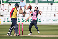 Nathan Sowter in bowling action for Middlesex during Essex Eagles vs Middlesex, Vitality Blast T20 Cricket at The Cloudfm County Ground on 18th July 2021