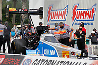 27th September 2020, Gainsville, Florida, USA;  Top Fuel driver Tony Schumacher (356) Sandvik/Okuna during the 51st annual Amalie Motor Oil NHRA Gatornationals