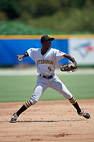 GCL Pirates shortstop Victor Ngoepe (5) throws to first base during a game against the GCL Blue Jays on July 20, 2017 at Bobby Mattick Training Center at Englebert Complex in Dunedin, Florida.  GCL Pirates defeated the GCL Blue Jays 11-6 in eleven innings.  (Mike Janes/Four Seam Images)
