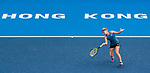 Daria Gavrilova of Australia competes against Zhang Shuai of China during the singles quarter final match at the WTA Prudential Hong Kong Tennis Open 2018 at the Victoria Park Tennis Stadium on 12 October 2018 in Hong Kong, Hong Kong.