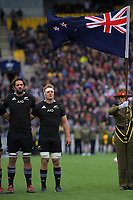 NZ's Sam Whitelock and Sam Cane sing the national anthem during the Bledisloe Cup rugby union match between the New Zealand All Blacks and Australia Wallabies at Sky Stadium in Wellington, New Zealand on Sunday, 11 October 2020. Photo: Dave Lintott / lintottphoto.co.nz