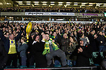 Norwich City 1 Manchester United 0, 17/11/2012. Carrow Road, Premier League. Home supporters go wild in celebration at the final whistle at Carrow Road stadium, home of Norwich City as their team defeat Manchester United in a Barclays Premier League fixture. The home team won the match by one goal to nil watched by a crowd of 26,840. It was Norwich City's first victory against Manchester United since 2005. Photo by Colin McPherson.