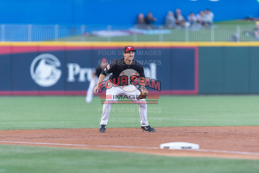 El Paso Chihuahuas third baseman Seth Mejias-Brean (17) during a Pacific Coast League game against the Albuquerque Isotopes at Southwest University Park on May 10, 2019 in El Paso, Texas. Albuquerque defeated El Paso 2-1. (Zachary Lucy/Four Seam Images)