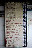 The menu board in the Indian coffee house, Baba Kharak Singh Marg. The coffee house dates back almost fifty years, first in central Connaught Place, then Janpath and now at the top of a rather shabby shopping centre. Where it is still run by the Indian Coffee Workers Cooperative Society. Once a regular haunt for politicos in Delhi, its clientele is still renowned for being well-read and intellectual.