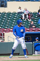 Cheslor Cuthbert (24) of the Omaha Storm Chasers at bat against the Memphis Redbirds in Pacific Coast League action at Werner Park on April 22, 2015 in Papillion, Nebraska.  (Stephen Smith/Four Seam Images)