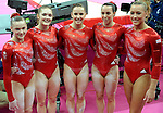 Olympics London 2012. Gymnastics Womens Qualifications 29.7.12. Greenwich Arena. GreatBritain pictured after qualifications. l to r  Rebecca Tunney.Jennifer Pinches,Hannah Whelan,Beth Tweddle,and Imogen Cairns