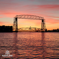 """Lift Bridge at Sunrise"" ~ The Aerial Lift Bridge frames an incredible October sunrise over Lake Superior."