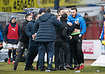 Dundee v St Johnstone…10.03.18…  Dens Park    SPFL<br />Dundee Manager Neil McCann and St Johnstones Zander Clark during an angry xchange at full time<br />Picture by Graeme Hart. <br />Copyright Perthshire Picture Agency<br />Tel: 01738 623350  Mobile: 07990 594431