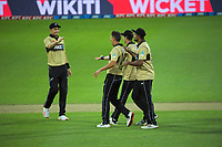 NZ's Trent Boult celebrates bowing Ashton Agar during the 4th international men's T20 cricket match between the New Zealand Black Caps and Australia at Sky Stadium in Wellington, New Zealand on Friday, 5 March 2021. Photo: Dave Lintott / lintottphoto.co.nz
