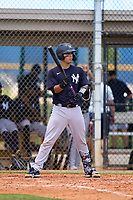 FCL Yankees Antonio Gomez (55) bats during a game against the FCL Tigers on June 28, 2021 at Tigertown in Lakeland, Florida.  (Mike Janes/Four Seam Images)