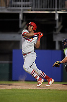 Johnson City Cardinals left fielder Leandro Cedeno (5) follows through on a swing during the second game of a doubleheader against the Princeton Rays on August 17, 2018 at Hunnicutt Field in Princeton, Virginia.  Princeton defeated Johnson City 12-1.  (Mike Janes/Four Seam Images)