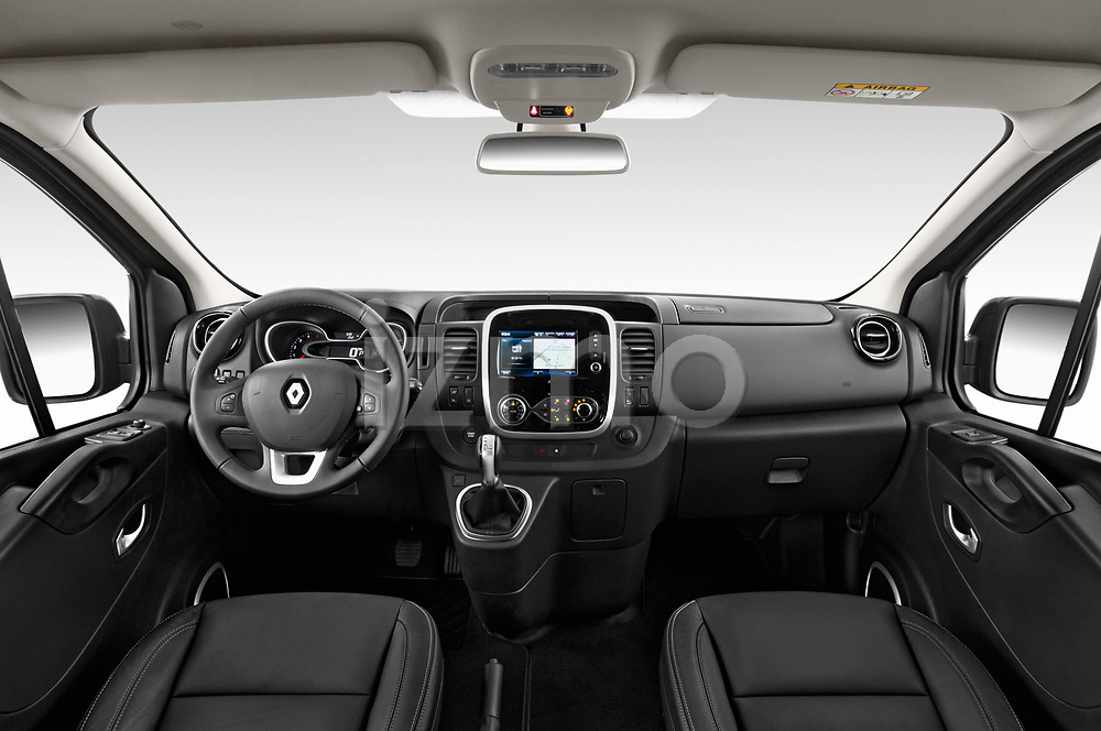 Stock photo of straight dashboard view of a 2020 Renault Trafic Space Class 4 Door Passenger Van