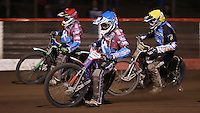 Heat 14: Lewis Bridger (blue), Richard Lawson (red) and Richie Worrall (yellow) - Lakeside Hammers vs Kings Lynn Stars, Elite League Speedway at the Arena Essex Raceway, Pufleet - 23/04/13 - MANDATORY CREDIT: Rob Newell/TGSPHOTO - Self billing applies where appropriate - 0845 094 6026 - contact@tgsphoto.co.uk - NO UNPAID USE.