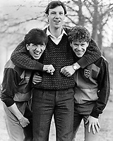 26th February 1985: Belfast, Ireland. Alvin Martin holds Paul Mariner and Tony Woodcock (all England) in Belfast  before the World Cup Qualification match