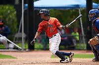 GCL Astros Sean Mendoza (3) at bat during a Gulf Coast League game against the GCL Mets on August 10, 2019 at FITTEAM Ballpark of the Palm Beaches Training Complex in Palm Beach, Florida.  GCL Astros defeated the GCL Mets 8-6.  (Mike Janes/Four Seam Images)