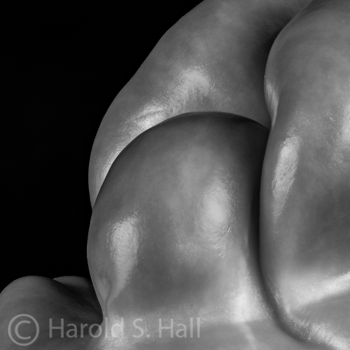 An abstract photo of a green bell pepper.