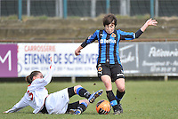 Club Brugge Dames - Heerenveen : duel met Ingrid De Rycke (rechts)<br /> foto Joke Vuylsteke / nikonpro.be