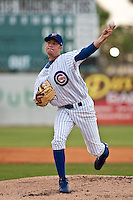 Christopher Rusin(21) of the Daytona Cubs during a game vs. the Charlotte Stone Crabs June 4 2010 at Jackie Robinson Ballpark in Daytona Beach, Florida. Charlotte won the game against Jupiter by the score of 6-3.  Photo By Scott Jontes/Four Seam Images