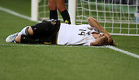 Kim Kulig of team Germany injured during the FIFA Women's World Cup at the FIFA Stadium in Wolfsburg, Germany on July 9th, 2011.