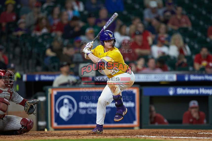 Alex Milazzo (20) of the LSU Tigers at bat against the Oklahoma Sooners in game seven of the 2020 Shriners Hospitals for Children College Classic at Minute Maid Park on March 1, 2020 in Houston, Texas. The Sooners defeated the Tigers 1-0. (Brian Westerholt/Four Seam Images)
