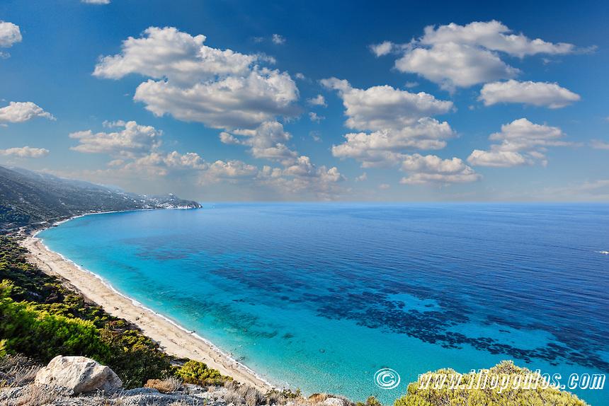 The beach Pefkoulia in Lefkada, Greece
