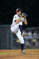 Danville Braves relief pitcher Zach Rice (46) in action against the Pulaski Yankees at American Legion Post 325 Field on August 2, 2016 in Danville, Virginia.  The game was cancelled due to rain.  (Brian Westerholt/Four Seam Images)