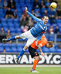 St Johnstone v Dundee United...26.09.15  SPFL   McDiarmid Park, Perth<br /> Dave Mackay gets above Adam Taggart<br /> Picture by Graeme Hart.<br /> Copyright Perthshire Picture Agency<br /> Tel: 01738 623350  Mobile: 07990 594431