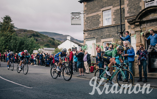 GC leader Primoz Roglic (SVK/LottoNL-Jumbo) rolling through town<br /> <br /> Racing in/around Lake District National Parc / Cumbria<br /> <br /> Stage 6: Barrow-in-Furness to Whinlatter Pass   (168km)<br /> 15th Ovo Energy Tour of Britain 2018