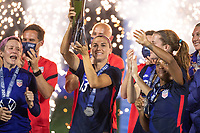 ORLANDO CITY, FL - FEBRUARY 24: Alex Morgan #13 of the USWNT celebrates the She Believes Cup during a game between Argentina and USWNT at Exploria Stadium on February 24, 2021 in Orlando City, Florida.