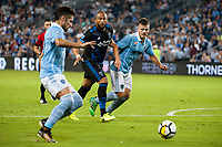 Kansas City, KS - Wednesday August 9, 2017: Victor Bernardez, Diego Rubio during a Lamar Hunt U.S. Open Cup Semifinal match between Sporting Kansas City and the San Jose Earthquakes at Children's Mercy Park.