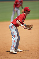 Third baseman Alex Mooney (46) of Orchard Lake St Mary's Prep in Rochester Hills, MI playing for the Cincinnati Reds scout team during the East Coast Pro Showcase at the Hoover Met Complex on August 5, 2020 in Hoover, AL. (Brian Westerholt/Four Seam Images)