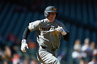 Chad McDaniel (20) of the Missouri Tigers hustles down the first base line against the Baylor Bears in game one of the 2020 Shriners Hospitals for Children College Classic at Minute Maid Park on February 28, 2020 in Houston, Texas. The Bears defeated the Tigers 4-2. (Brian Westerholt/Four Seam Images)