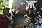 Chicago Police torture victim Mark Clements leads a march from Federal Plaza to support a Citizens Police Accountability Council to provide civilian oversight of the Chicago Police Department in Chicago, Illinois on July 11, 2016.  The demonstration attracted a larger crowd on the heels of last week's racially charged police shootings captured on video of Alton Sterling in Baton Rouge, Louisiana and Philando Castile in the St. Paul suburb of Falcon Heights, Minnesota which was followed by a mass shooting of five police officers by Afghan War veteran Micah Johnson who supported radical and violent black nationalist ideology.