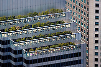 aerial photograph of the roof top gardens and balconies of Shaklee Terraces, the One Front Street Tower, San Francisco, California
