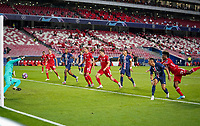 23rd August 2020, Estádio da Luz, Lison, Portugal; UEFA Champions League final, Paris St Germain versus Bayern Munich; The goal scored for 1-0 by Kingsley Coman (Munich) past Keylor Navas (PSG)
