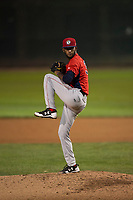 Orem Owlz starting pitcher Cristopher Molina (35) delivers a pitch during a Pioneer League game against the Helena Brewers at Kindrick Legion Field on August 21, 2018 in Helena, Montana. The Orem Owlz defeated the Helena Brewers by a score of 6-0. (Zachary Lucy/Four Seam Images)