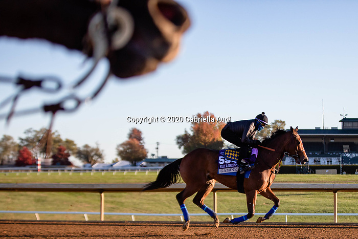 November 4, 2020: Gamine, trained by trainer Bob Baffert, exercises in preparation for the Breeders' Cup Filly & Mare Sprint at Keeneland Racetrack in Lexington, Kentucky on November 4, 2020. Gabriella Audi/Eclipse Sportswire/Breeder's Cup/CSM