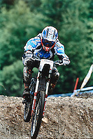 Tracy Moseley . Team Kona. Fort William World Cup Downhill . Scotland , June 2002 .
