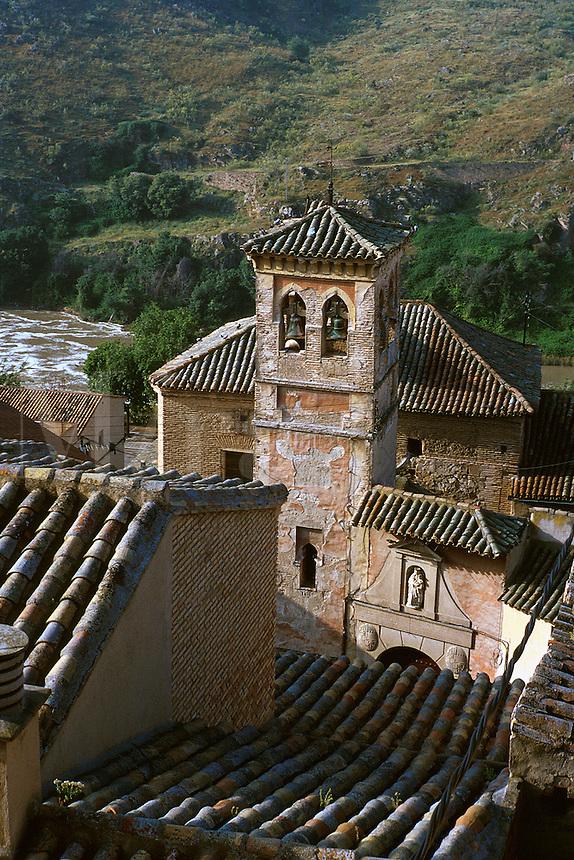 Church tower of San Cipriano. River Tajo in background. Toledo Castilla-La Mancha Spain.