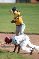 Brett Barrera (16) of the Kalamazoo Growlers turns a double play against the Battle Creek Bombers during Northwoods League action at Homer Stryker Field on July 2nd, 2020 in Kalamazoo, Michigan. Barrera plays college baseball at Stanford University. The Bombers defeated the Growlers 4-1. (Andrew Woolley/Four Seam Images)