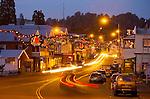 Christmas lights at night, downtown along Main Street (SR 49), Sutter Creek, Calif.