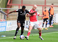 Lincoln City's Timothy Eyoma battles with Fleetwood Town's Paddy Madden<br /> <br /> Photographer Chris Vaughan/CameraSport<br /> <br /> The EFL Sky Bet League One - Fleetwood Town v Lincoln City - Saturday 17th October 2020 - Highbury Stadium - Fleetwood<br /> <br /> World Copyright © 2020 CameraSport. All rights reserved. 43 Linden Ave. Countesthorpe. Leicester. England. LE8 5PG - Tel: +44 (0) 116 277 4147 - admin@camerasport.com - www.camerasport.com