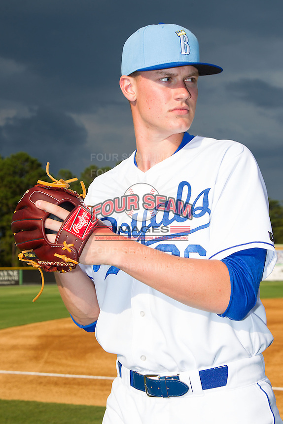 Scott Blewett (36) of the Burlington Royals poses for a photo prior to the game against the Princeton Rays at Burlington Athletic Park on July 9, 2014 in Burlington, North Carolina.  The Rays defeated the Royals 3-0.  (Brian Westerholt/Four Seam Images)