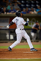 Pensacola Blue Wahoos Jaylin Davis (5) at bat during a Southern League game against the Biloxi Shuckers on May 3, 2019 at Admiral Fetterman Field in Pensacola, Florida.  Pensacola defeated Biloxi 10-8.  (Mike Janes/Four Seam Images)