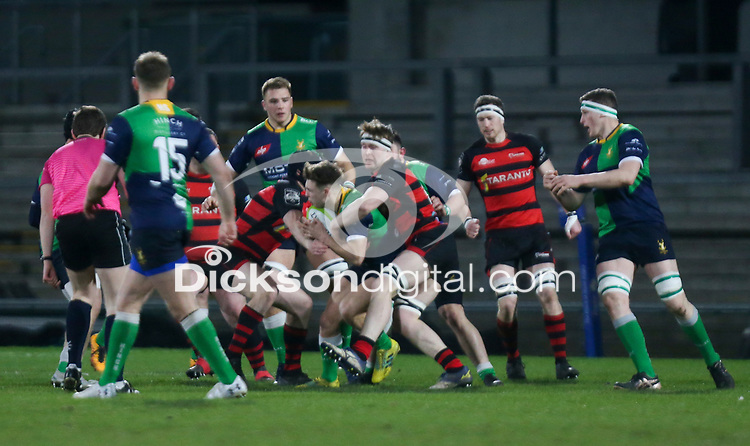 Friday 6th March 2020 | Armagh RFC vs Ballynahinch RFC<br /> <br /> Greg Hutley is tackled during the Bank Of Ireland Ulster Senior Cup Final between the City of Armagh RFC and Ballynahinch RFC at Kingspan Stadium, Ravenhill Park, Belfast, Northern Ireland. Photo by John Dickson / DICKSONDIGITAL